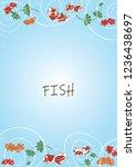 goldfish swimming in pond water ... | Shutterstock .eps vector #1236438697