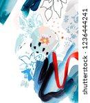 art poster. paint strokes. ...   Shutterstock . vector #1236444241