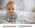 adorable baby boy in white... | Shutterstock . vector #1236449491