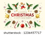 merry christmas  happy new year ... | Shutterstock .eps vector #1236457717