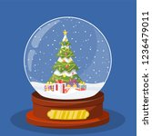 christmas snow globe with... | Shutterstock . vector #1236479011