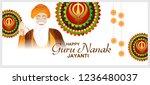 illustration of guru nanak... | Shutterstock .eps vector #1236480037