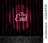 Small photo of Theatre Curtain Close Or Stage Curtain Call In A Depiction Of A Movie Ending Screen At A Vintage Cinema