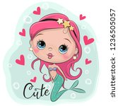 cute cartoon mermaid with pink... | Shutterstock .eps vector #1236505057