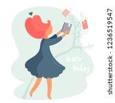girl taking a book. concept... | Shutterstock .eps vector #1236519547