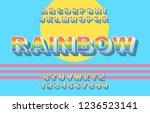 80's retro alphabet font.... | Shutterstock .eps vector #1236523141