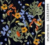 blossom floral seamless pattern.... | Shutterstock .eps vector #1236533494