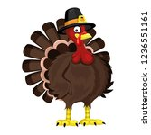 cartoon turkey on white... | Shutterstock .eps vector #1236551161