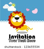 cute greeting card with lion.... | Shutterstock .eps vector #123655534