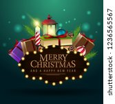 merry christmas   wooden plate... | Shutterstock .eps vector #1236565567