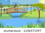 public park in a city with a... | Shutterstock .eps vector #1236571597