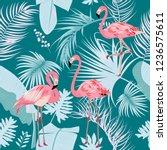 seamless pattern of flamingo ... | Shutterstock .eps vector #1236575611