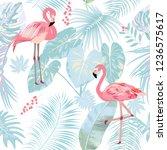 seamless pattern of flamingo ...   Shutterstock .eps vector #1236575617