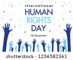 human rights day with hand on... | Shutterstock .eps vector #1236582361