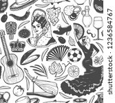 pattern with spanish symbols.... | Shutterstock .eps vector #1236584767