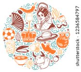round composition with spanish... | Shutterstock .eps vector #1236584797