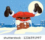 funny santa claus stuck in the... | Shutterstock .eps vector #1236591997