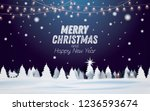winter snowy night forest... | Shutterstock .eps vector #1236593674