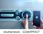 man scan fingerprint biometric... | Shutterstock . vector #1236599317