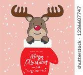christmas gloves with deer. | Shutterstock .eps vector #1236607747