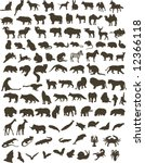 100 black silhouettes of... | Shutterstock . vector #12366118