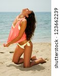 Portrait of a woman with beautiful body on a tropical beach - stock photo