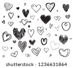 hand drawn hearts on white... | Shutterstock .eps vector #1236631864