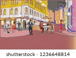 series of colorful retro street ...   Shutterstock . vector #1236648814