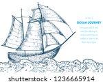 sail ship hand drawn sketch....   Shutterstock .eps vector #1236665914