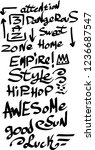 many graffiti tags on a white...   Shutterstock .eps vector #1236687547