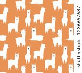 seamless pattern of funny hand... | Shutterstock .eps vector #1236697687