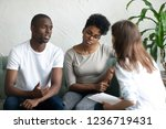 unhappy young african american... | Shutterstock . vector #1236719431