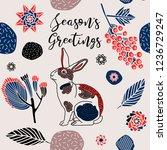seasons greetings print design...   Shutterstock .eps vector #1236729247