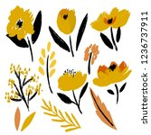 set of hand drawn cute flowers... | Shutterstock .eps vector #1236737911