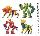 vector cartoon combat robots... | Shutterstock .eps vector #1236747397