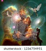 surrealism. figure of man with... | Shutterstock . vector #1236754951