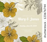 wedding card or invitation with ... | Shutterstock .eps vector #123676744