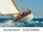 sailing yacht under full sail... | Shutterstock . vector #1236769864