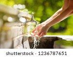 closeup photo of woman washing... | Shutterstock . vector #1236787651