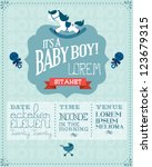baby boy baby shower invitation ... | Shutterstock .eps vector #123679315