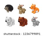 vector set of cute animals toys.... | Shutterstock .eps vector #1236799891