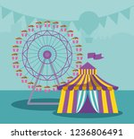 circus tent with panoramic wheel | Shutterstock .eps vector #1236806491