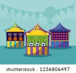 set of circus tents with games | Shutterstock .eps vector #1236806497