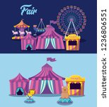 set circus tent and icons | Shutterstock .eps vector #1236806551