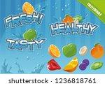 fresh fruits template elements   Shutterstock .eps vector #1236818761