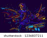 musician with drums. rock... | Shutterstock .eps vector #1236837211