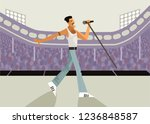 freddy mercury vocalist singing ... | Shutterstock .eps vector #1236848587