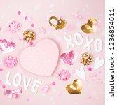 confetti  bows and paper... | Shutterstock . vector #1236854011