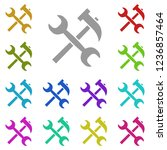 repair  hammer and wrench icon...