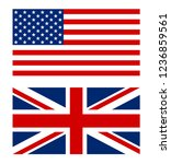 usa and great britain flag.... | Shutterstock .eps vector #1236859561